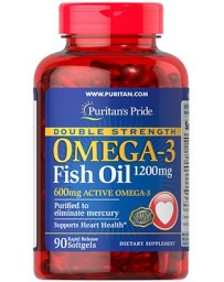 Double Strenght Omega-3 Fish Oil 1200mg/600mg Omega-3 - 90 Softgels