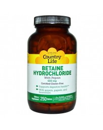 Betaine Hydrochloride with Pepsin, 600 mg - 250 Tablets